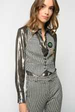 Houndstooth waistcoat with brooch