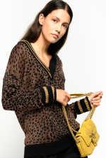 美洲豹猫提花金属丝针织套头衫