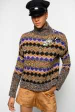 毛圈花式线提花高领套头衫