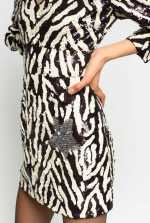 Vestido con motivo cebra de lentejuelas