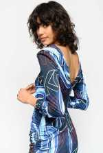 Macro chain and logo print dress