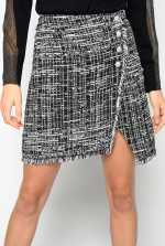 Patterned tweed mini skirt