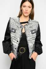 Two-fabric bomber jacket