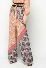 Patchwork-print trousers