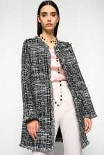 Lightweight patterned tweed coat