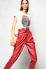 Pantaloni in pelle con fibbia Love Birds