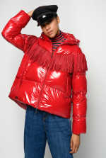 Nylon crystal quilted coat with fringes