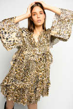 Fil coupé leopard print dress