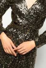 Fully sequinned wraparound dress