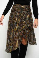 Midi-length skirt in cashmere-print fil coupé