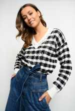 Checked jacquard pullover with rhinestones
