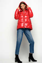 Nylon crystal quilted coat with hood