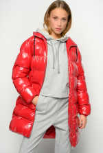 Nylon crystal midi quilted coat