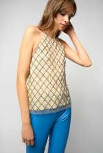 水晶点缀刺绣网眼装饰上衣