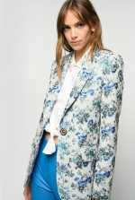 花卉锦织面料西装外套