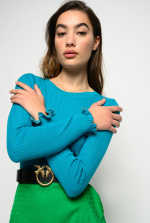 Sweater with ruffles and rhinestones on the cuffs