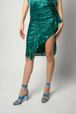 Mid-calf skirt with square sequins