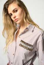 Striped shirt with beads
