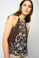 Foliage-print top with fringing