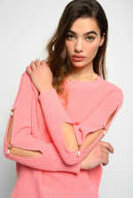 Rib knit top with pearls on the sides