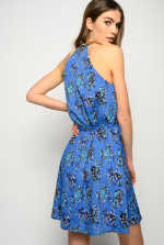 Floral halter-neck dress with chain