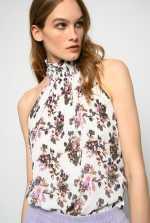 挂颈式领口花卉印花上衣