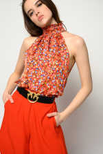 Micro floral halter neck top