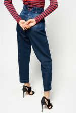 腰封式高腰奇诺牛仔裤