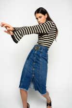 Midi-length vintage denim skirt