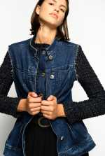 Two-piece jacket in denim and tweed