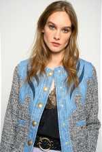 牛仔布和毛圈纱粗花呢四方版型夹克