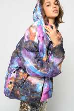 Galaxy-print duvet coat