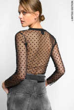 Maglia in tulle a pois