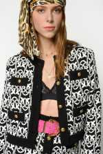 Monogram tweed short jacket