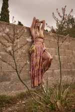 花卉图案金属丝长款连衣裙