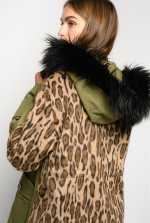 Parka with leopard-print back