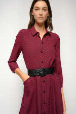 波点超长衬衫式连衣裙