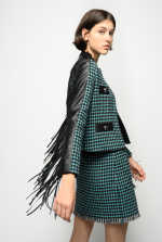 Tweed jacket with fringing