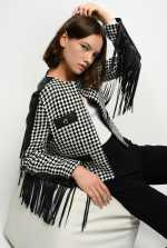 Houndstooth jacket with fringing
