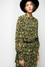 迷彩印花衬衫式连衣裙