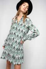 Chevron print mini shirtdress