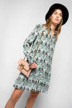 人字纹图案印花迷你衬衫式连衣裙