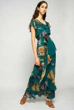 超大花卉长款连衣裙