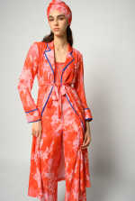 Hibiscus print shirtwaister dress