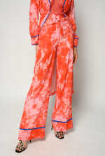Palazzo trousers with hibiscus print