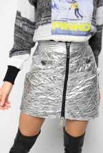 Quilted metallic mini skirt