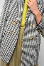 青蛙扣维希格纹西装外套