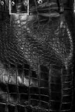 Crocodile-print midi-length skirt
