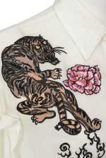 老虎和花朵刺绣衬衫
