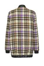 Cardigan-jacket in check hopsack